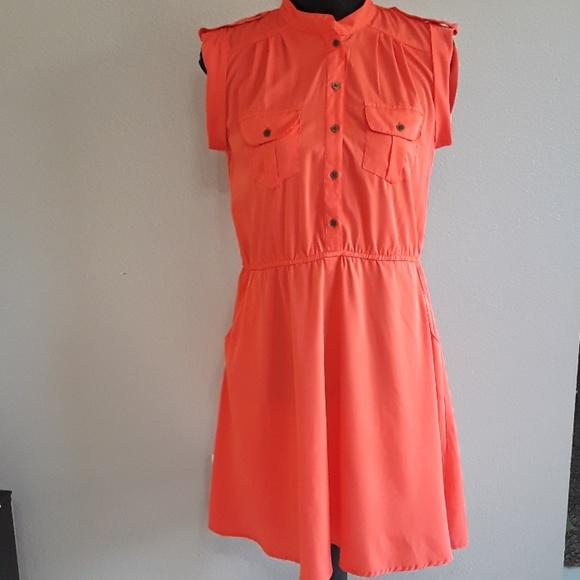 Speed Central Dresses & Skirts - Tiger Orange Button Down Dress Size Medium